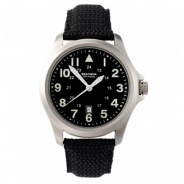 Gent's S/Steel Black Fabric Strap Watch 3347