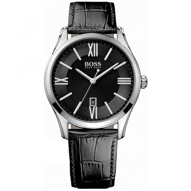 Hugo Boss Gents' S/Steel Black Leather Ambassador Watch 1513022