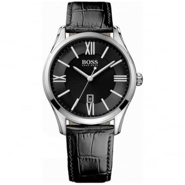 Hugo Boss Gents' S/Steel Black Leather Ambassador Watch 1513022