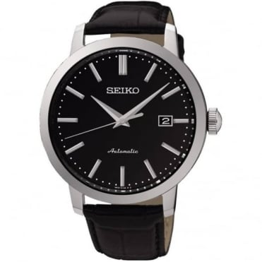 Seiko Gent's S/Steel Black Leather Automatic Watch SRPA27K1