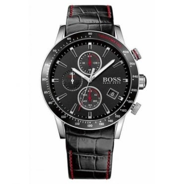 Gent's S/Steel Black Leather Chrono Rafale Watch 1513390