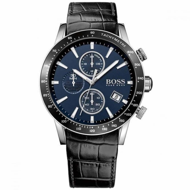 Hugo Boss Gent's S/Steel Black Leather Chrono Rafale Watch 1513391