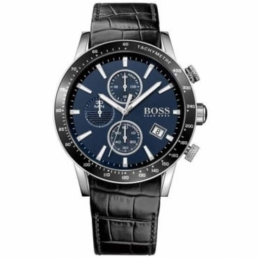Gent's S/Steel Black Leather Chrono Rafale Watch 1513391