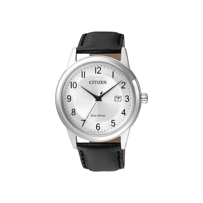 Gent's S/Steel Black Leather Eco-Drive Watch AW1231-07A