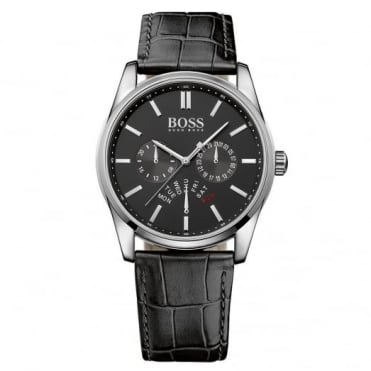 Hugo Boss Gent's S/Steel Black Leather Heritage Watch 1513124