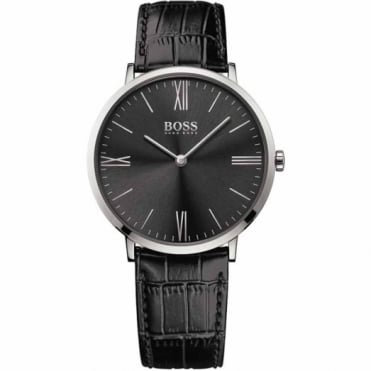 Gent's S/Steel Black Leather Jackson Watch 1513369