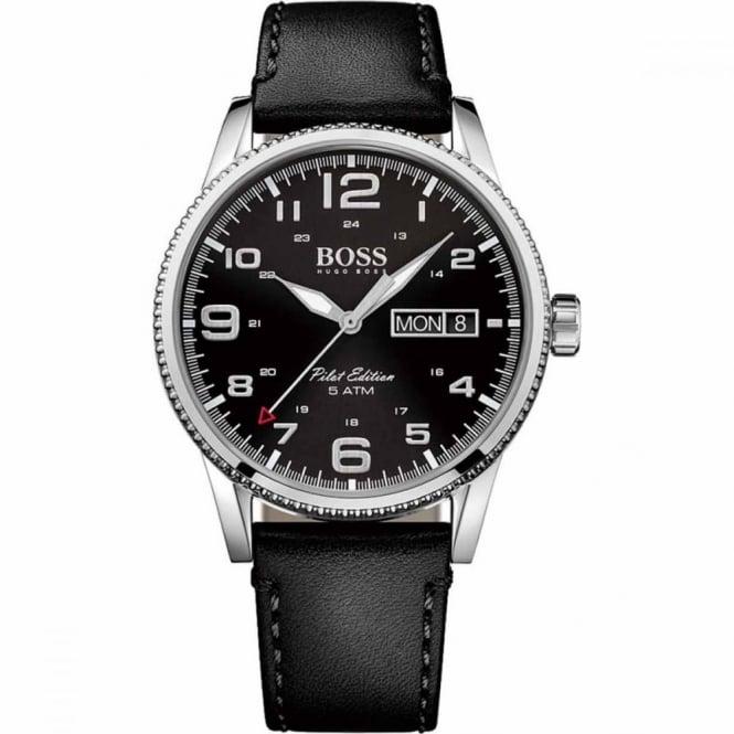 Hugo Boss Gent's S/Steel Black Leather Pilot Watch 1513330