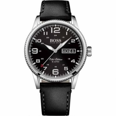 Gent's S/Steel Black Leather Pilot Watch 1513330