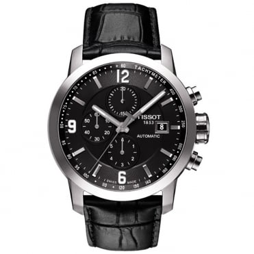 Gent's S/Steel Black Leather PRC200 Automatic Watch T0554271605700