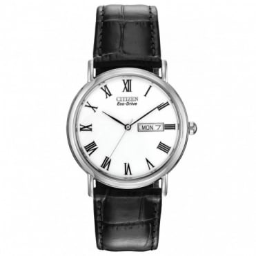 Gents S/Steel Black Leather Strap Eco-Drive Watch BM8240-11A