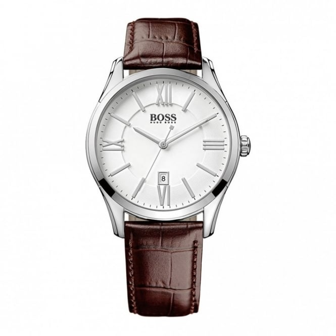 Hugo Boss Gent's S/Steel Brown Leather Ambassador Watch 1513021