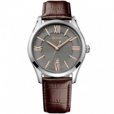 Hugo Boss Gent's S/Steel Brown Leather Ambassador Watch 1513041