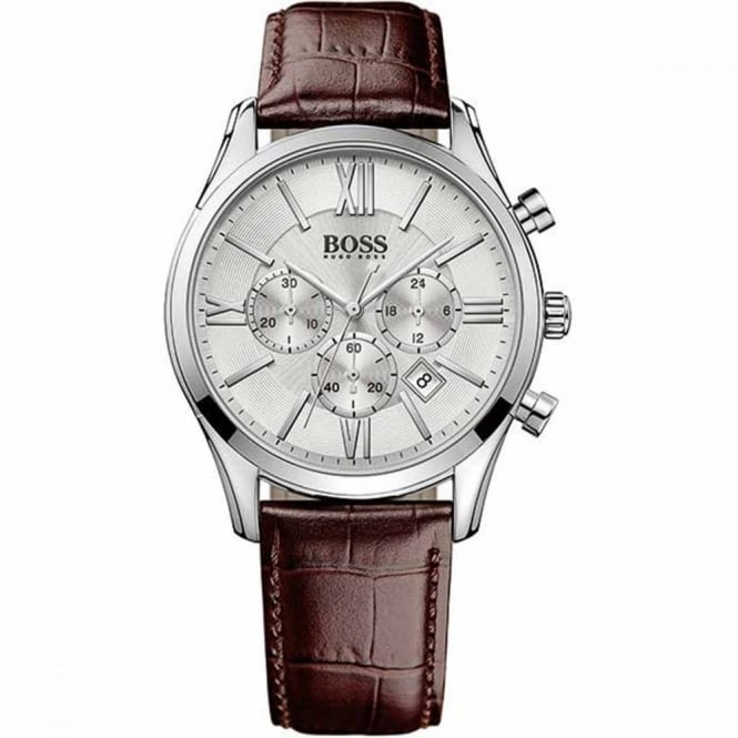 Hugo Boss Gent's S/Steel Brown Leather Ambassador Watch 1513195