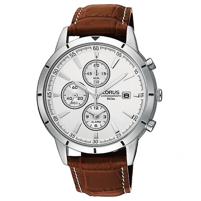 Gents' S/Steel Brown Leather Chronograph Watch RF325BX9