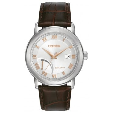 Gent's S/Steel Brown Leather Eco-Drive Watch AW7020-00A