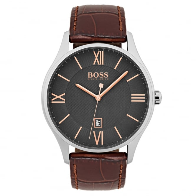 Gent's S/Steel Brown Leather Governor Watch 1513484
