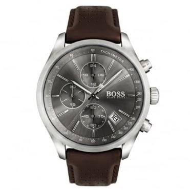 Hugo Boss Gent's S/Steel Brown Leather Grand Prix Chrono Watch 1513476