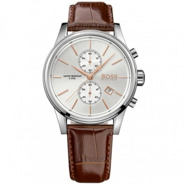 Hugo Boss Gent's S/Steel Brown Leather Jet Watch 1513280