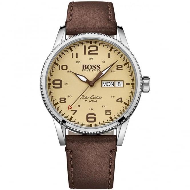 Hugo Boss Gent's S/Steel Brown Leather Pilot Watch 1513332