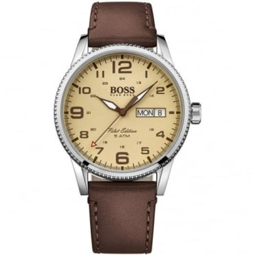Hugo Boss Gent's S/Steel Brown Leather Pilot Watch 1513332
