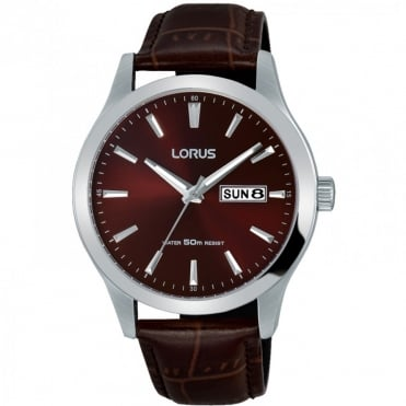 Gents' S/Steel Brown Leather Watch RXN31DX9