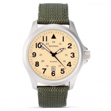 Gent's S/Steel Green Fabric Strap Watch 3341