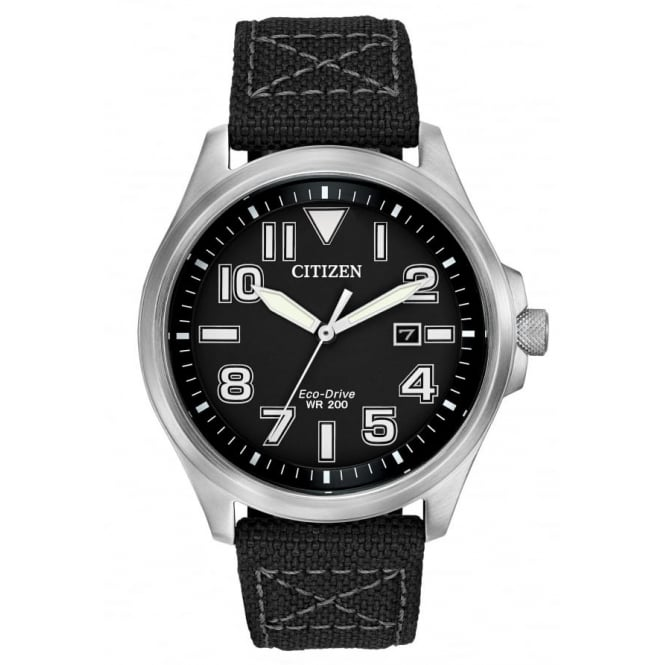 Gents S/Steel Military Eco-Drive Watch AW1410-08E