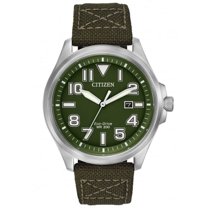 Gents S/Steel Military Eco-Drive Watch AW1410-16X