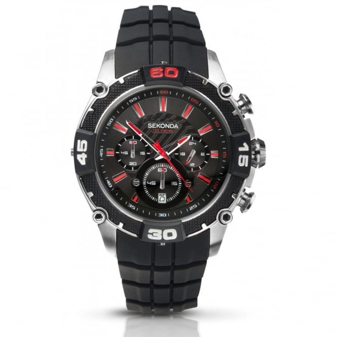 Gent's S/Steel Rubber Chronograph Watch 3489