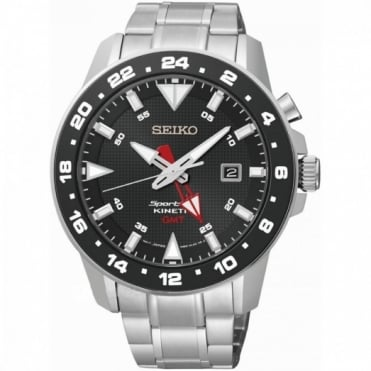 Seiko Gent's S/Steel Sportura GMT Kinetic Watch SUN015P1