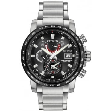 Gent's S/Steel World Time Alarm Eco-Drive Watch AT9071-58E