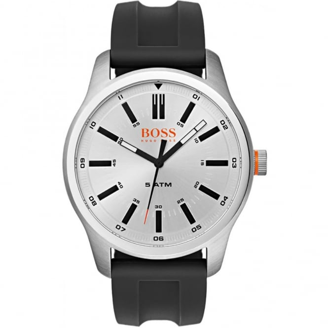 Gents Silver Dial Black Rubber Strap 1550043