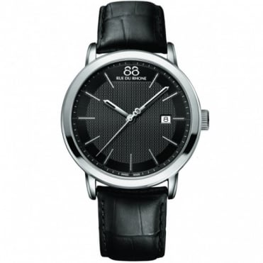 Gents' Stainless Steel Black Leather Strap Watch 87WA130010