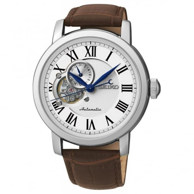 Gent's Stainless Steel Brown Leather Automatic Watch SSA231K1