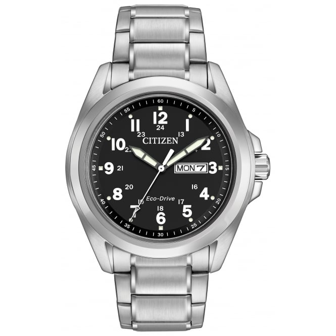 Gent's Stainless Steel Eco-Drive Watch AW0050-82E
