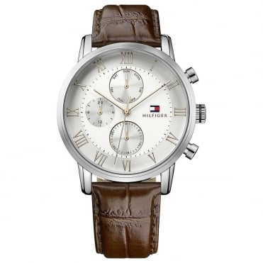 Gents Stainless Steel Leather Strap Watch 1791400