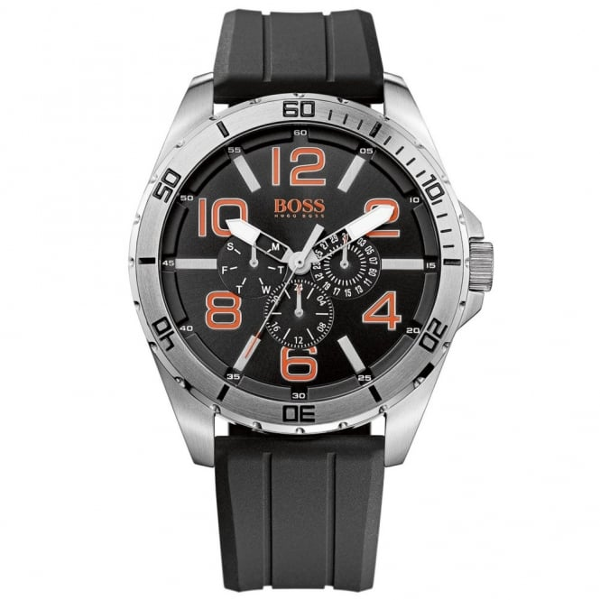 Gents' Stainless Steel Rubber Strap Watch 1512945