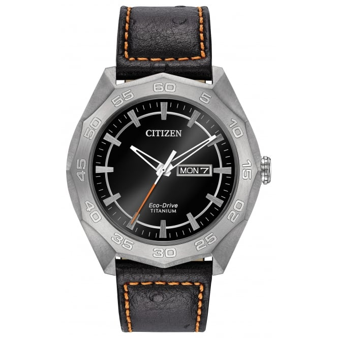 Gent's Titanium Black Leather Eco-Drive Watch AW0060-03E