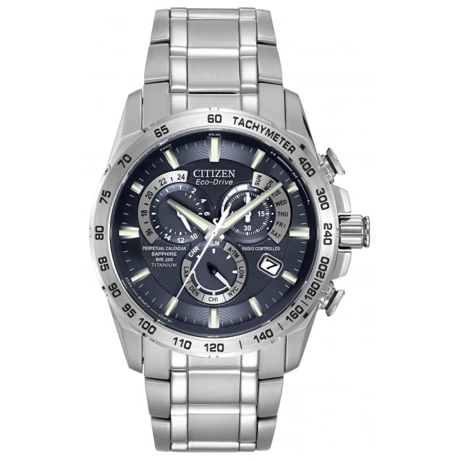 Gent's Titanium Radio Controlled Eco-Drive Watch AT4011-57L