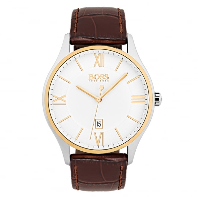 Gent's Two Tone Brown Leather Governor Watch 1513486