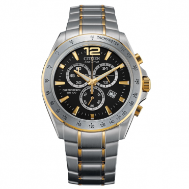 Gent's Two Tone Chrono Eco-Drive Watch AT2074-58E