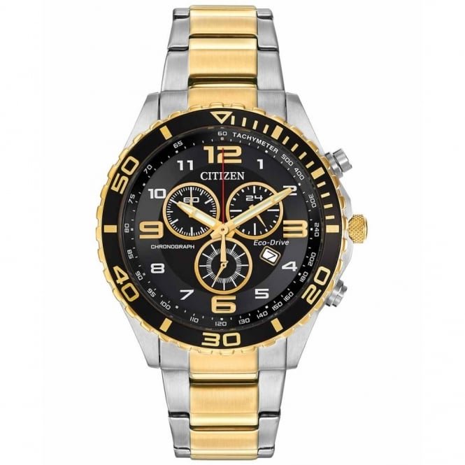 Gent's Two Tone Chrono Eco-Drive Watch AT2124-51E