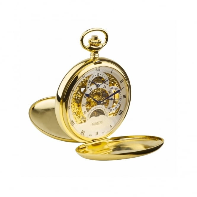 Gold Plate Double Hunter Mechanical Pocket Watch G254PM
