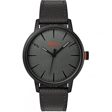 Grey Dial Black Leather Strap Watch 1550055