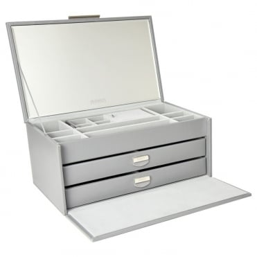Dulwich Designs Grey Leather Large Jewellery Box 71176