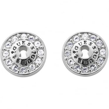 Guess All Locked Up Rhodium Plated Earrings UBE71206