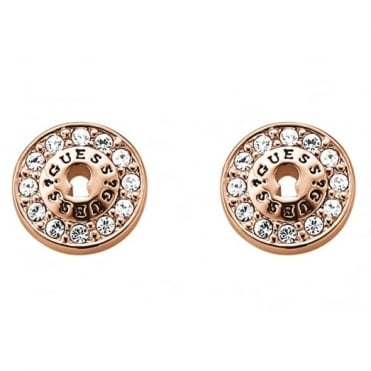 Guess  All Locked Up Rose Gold Earrings UBE71331