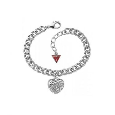 Guess Crystal Crush Heart Charm Bracelet UBB70205