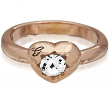 Guess Crystals Of Love Rose Stone Set Ring UBR51410-54