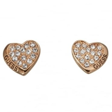 Guess Desert Beauty Heart Stud Earrings UBE11412